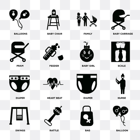 Set Of 16 icons such as Balloon, Bag, Rattle, Swings, Nurse, Balloons, Pram, Diaper, Baby girl on transparent background, pixel perfect