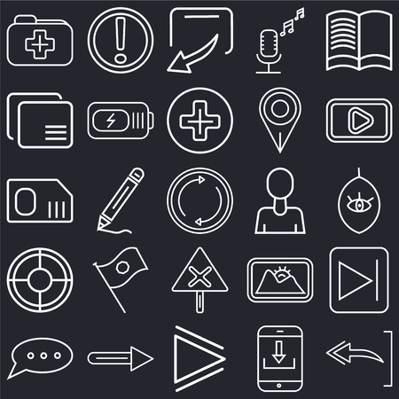 Set Of 25 simple editable icons such as Reading book, Download arrow,  Arrow pointing right, Speech bubble black, Start button, Gross pencil, web UI icon pack, pixel perfect