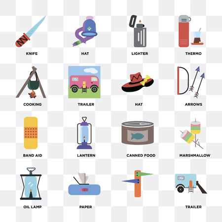 Set Of 16 icons such as Trailer, , Paper, Oil lamp, Marshmallow, Knife, Cooking, Band aid, Hat on transparent background, pixel perfect