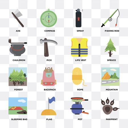 Set Of 16 icons such as Pawprint, Pot, Flag, Sleeping bag, Mountain, Axe, Cauldron, Forest, Life vest on transparent background, pixel perfect Illustration