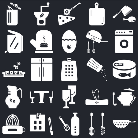 Set Of 25 simple editable icons such as Strainer, Conserve, Washing machine, Coffee grinder, Squeezer, Mitten, Napkin, Ice cube tray on black background, web UI icon pack