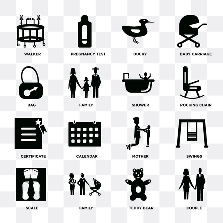 Set di 16 icone come coppia, orsacchiotto, famiglia, scala, altalene, deambulatore, borsa, certificato, doccia su sfondo trasparente, pixel perfetto
