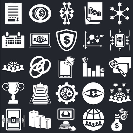 Set Of 25 icons such as Money, Internet, Computer, Bar chart, Smartphone, Settings, Award, Calendar, Diagram, Coin on black background, web UI editable icon pack