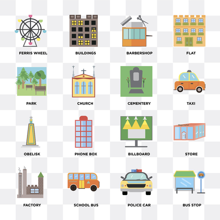 Set Of 16 icons such as Bus stop, Police car, School bus, Factory, Store, Ferris wheel, Park, Obelisk, Cementery on transparent background, pixel perfect 向量圖像