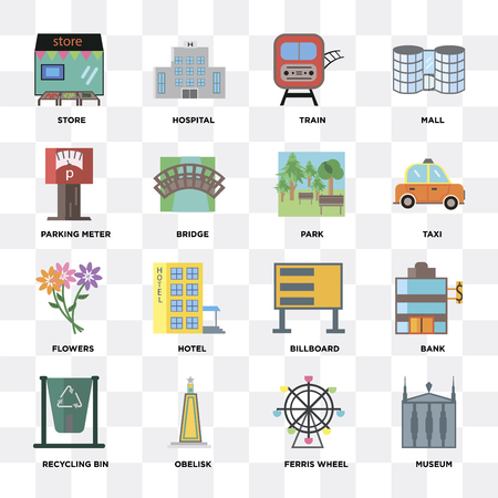Set Of 16 icons such as Museum, Ferris wheel, Obelisk, Recycling bin, Bank, Store, Parking meter, Flowers, Park on transparent background, pixel perfect 向量圖像