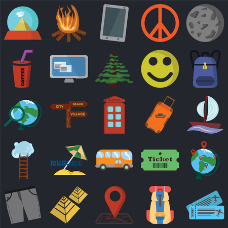 Set Of 25 icons such as Tickets, Backpack, Location, Pyramid, Short, Suitcase, Bus, Ladder, Drink, Phone, Bonfire on black background, web UI editable icon pack