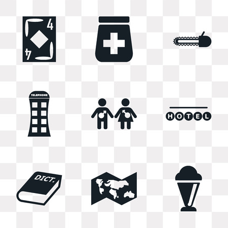 Set Of 9 simple transparency icons such as Ice Cream, World map, 3D Dictionary, Round hotel, Girl and boy, Phone box, Chainsaw, Pills jar, Diamond ace, can be used for mobile, pixel perfect vector Banco de Imagens - 111762655
