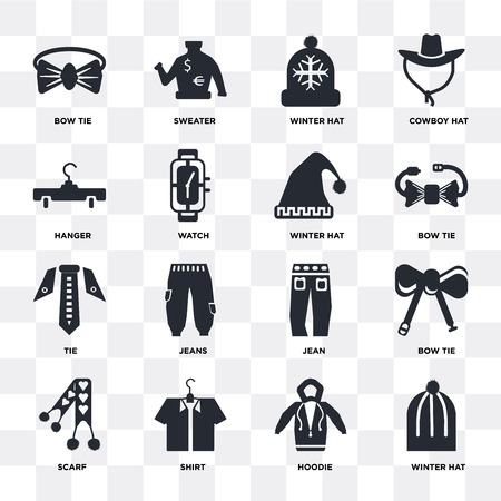 Set Of 16 icons such as Winter hat, Hoodie, Shirt, Scarf, Bow tie, Hanger, Tie on transparent background, pixel perfect