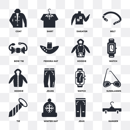 Set van 16 pictogrammen zoals hanger, jean, wintermuts, stropdas, zonnebril, jas, vlinderdas, hoodie op transparante achtergrond, pixel perfect Vector Illustratie
