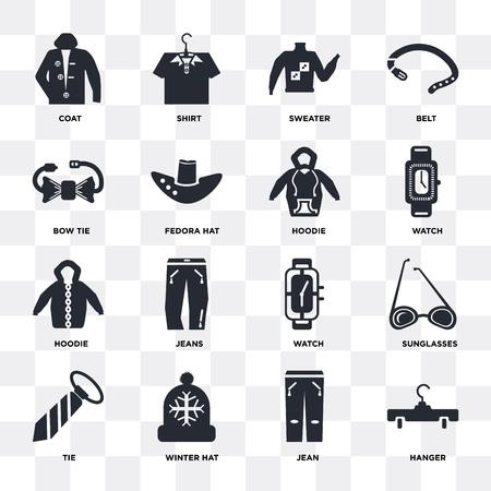 Set von 16 Symbolen wie Kleiderbügel, Jean, Wintermütze, Krawatte, Sonnenbrille, Mantel, Fliege, Hoodie auf transparentem Hintergrund, Pixel perfekt Vektorgrafik