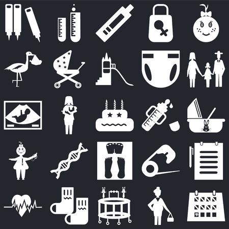 Set Of 25 icons such as Calendar, Pregnant, Walker, Socks, Heart beat, Family, Feeder, Scale, Baby, Stork, Pregnancy test, Tube on black background, web UI editable icon pack