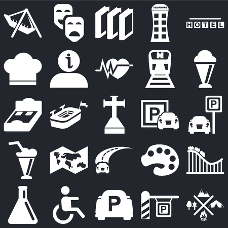 Set Of 25 simple editable icons such as Camping, Parking, Ice Cream, Carnival masks, Test tube, Information, Painter palette, Bed 3D view on black background, web UI icon pack