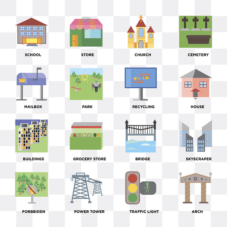 Set Of 16 icons such as Arch, Traffic light, Power tower, Forbbiden, Skyscraper, School, Mailbox, Buildings, Recycling on transparent background, pixel perfect Ilustracje wektorowe
