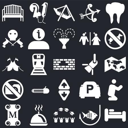 Conjunto de 25 iconos editables sencillos como cama, mapa del mundo, no perros, globos, museo, información, estacionamiento, circo sobre fondo negro, paquete de iconos de interfaz de usuario web
