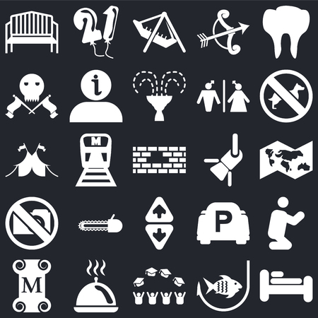 Set Of 25 simple editable icons such as Bed, World map, No Dogs, Balloons, Museum, Information, Parking, Circus on black background, web UI icon pack