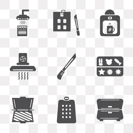 Set Of 9 simple transparency icons such as Cabinet, Grater, Toaster, Molded, Knife, Extractor hood, Coffee maker, Kitchen board, can be used for mobile, pixel perfect vector icon pack