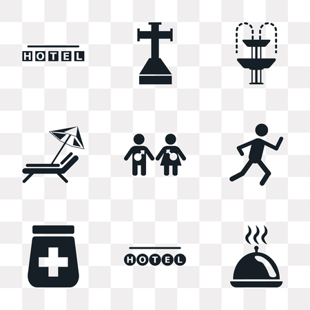 Set Of 9 simple transparency icons such as Tray with cover, Round hotel, Pills jar, Running, Girl and boy, Sun umbrella, Fountain, Cross stuck in ground, Square can be used for mobile, pixel