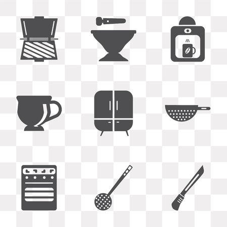 Set Of 9 simple transparency icons such as Knife, Skimmer, Oven, Strainer, Cabinet, Tea cup, Coffee maker, Mortar, Toaster, can be used for mobile, pixel perfect vector icon pack on transparent