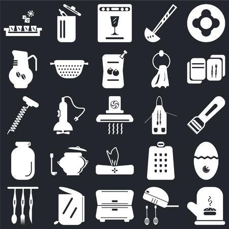 Set di 25 icone come Guanto, Mixer, Cabinet, Garbage, Posate, Ricetta, Grembiule, Tovagliolo, Jar, Caffettiera, Lavastoviglie, Cestino su sfondo nero, icon pack modificabile dall'interfaccia utente web