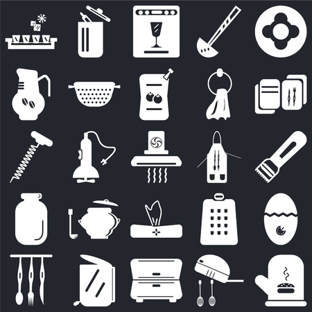 Set Of 25 icons such as Mitten, Mixer, Cabinet, Garbage, Cutlery, Recipe, Apron, Napkin, Jar, Coffee pot, Dishwasher, Trash on black background, web UI editable icon pack 向量圖像