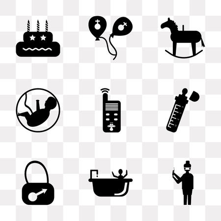 Set Of 9 simple transparency icons such as Nurse, Shower, Bag, Baby bottle, monitor, Fetus, Rocking horse, Balloons, Birthday, can be used for mobile, pixel perfect vector icon pack on