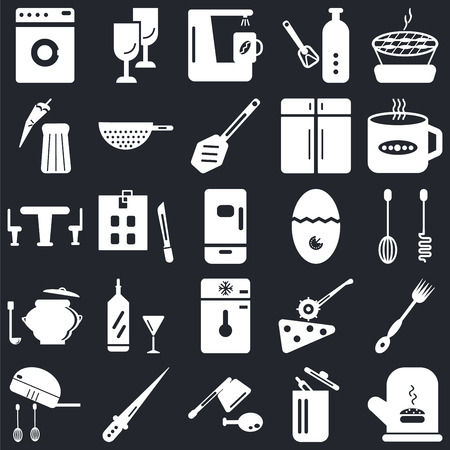 Set Of 25 icons such as Mitten, Trash, Cleaver, Knife, Mixer, Tea cup, Timer, Freezer, Saucepan, Pepper, Coffee maker, Glass on black background, web UI editable icon pack