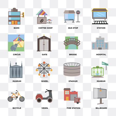 Set Of 16 icons such as Billboard, Fire station, Bicycle, Museum, Bank, Circus, Bridge on transparent background, pixel perfect