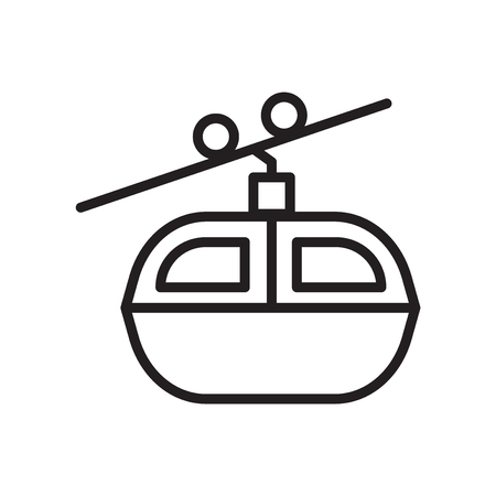 Cable car icon vector isolated on white background, Cable car transparent sign , linear symbol and stroke design elements in outline style