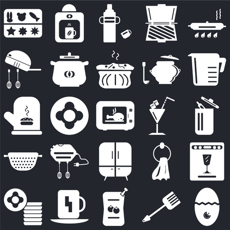 Set Of 25 icons such as Timer, Spatula, Sauces, Cup, Dishes, Measuring cup, Cocktail, Cabinet, Strainer, Mixer, Thermos, Coffee maker on black background, web UI editable icon pack