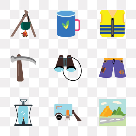 Set Of 9 simple transparency icons such as Mountain, Trailer, Oil lamp, Shorts, Binoculars, Pick, Life vest, Cup, Cooking, can be used for mobile, pixel perfect vector icon pack on transparent Ilustracja