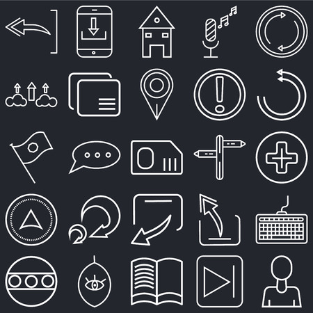 Set Of 25 simple editable icons such as User Avatar, Add, Reload webpage, Download arrow, Full circle, Overlay, Window back button, Flag waving on black background, web UI icon pack