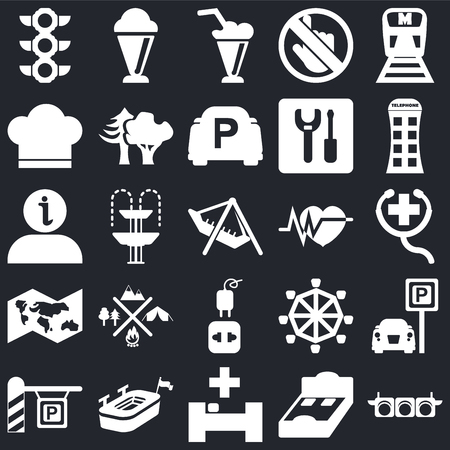 Set Of 25 simple editable icons such as Traffic Lights, First Aid, Phone box, Ice Cream, Parking, Woods, Roller Coaster, Information on black background, web UI icon pack