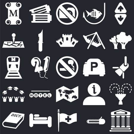 Set Of 25 icons such as Monument, Chainsaw, Plain flag, Bed, 3D Dictionary, Trees, Parking, World map, Graduate cap, Map, No Photo, Tickets on black background, web UI editable icon pack