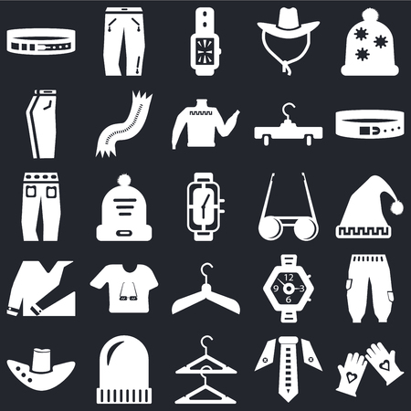 Set Of 25 icons such as Gloves, Tie, Hanger, Winter hat, Fedora Belt, Sunglasses, Shirt, Jeans, Watch, Jeans on black background, web UI editable icon pack
