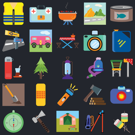 Set Of 25 icons such as Marshmallow, Hiking, Tent, Pick, Compass, Jerrycan, Hat, Flashlight, Shovel, Panels, Barbecue, First aid kit on black background, web UI editable icon pack Illustration