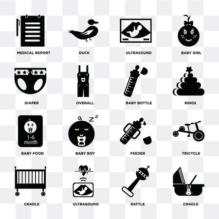 Conjunto de 16 iconos como cuna, sonajero, ultrasonido, triciclo, informe médico, pañal, comida para bebés, biberón sobre fondo transparente, píxel perfecto