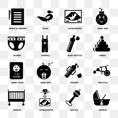 Set Of 16 icons such as Cradle, Rattle, Ultrasound, Tricycle, Medical report, Diaper, Baby food, bottle on transparent background, pixel perfect