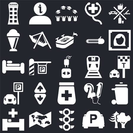 Set Of 25 simple editable icons such as Woods, Taxi stop, Woman portrait, Information, Hospital, Amusement Park, Balloons, Bed on black background, web UI icon pack