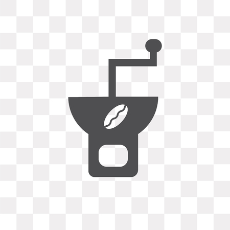 Coffee grinder vector icon isolated on transparent background, Coffee grinder logo concept Vectores