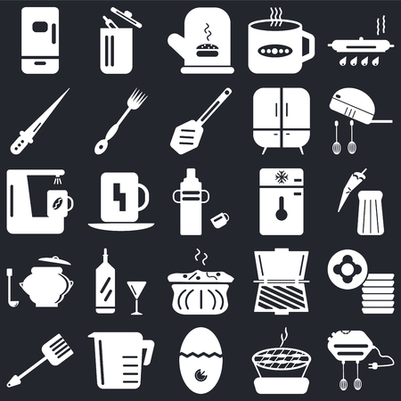 Set Of 25 icons such as Mixer, Barbecue, Timer, Measuring cup, Spatula, Freezer, Molded, Saucepan, Knife, Mitten, Trash on black background, web UI editable icon pack