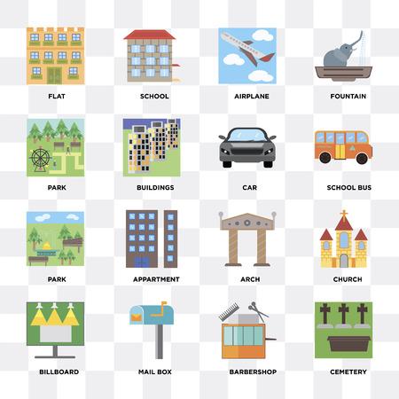 Ensemble de 16 icônes telles que cimetière, salon de coiffure, boîte aux lettres, panneau d'affichage, église, plat, parc, voiture sur fond transparent, pixel parfait Vecteurs