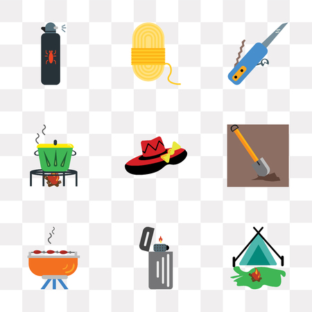 Set Of 9 simple transparency icons such as Tent, Lighter, Barbecue, Shovel, Hat, Pot, Swiss knife, Rope, Spray, can be used for mobile, pixel perfect vector icon pack on transparent background Vectores