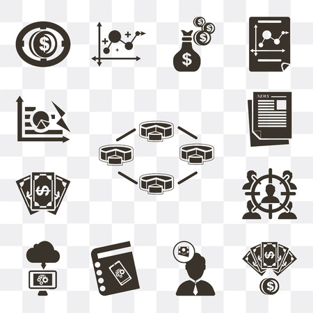 Set Of 13 simple editable icons such as Diagram, Money, Salesman, Agenda, Cloud computing, Target, Newspaper, Pie chart on transparent background 向量圖像