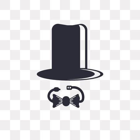 Icono de vector de sombrero de copa aislado sobre fondo transparente, concepto de logo de sombrero de copa