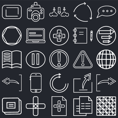 Set Of 25 simple editable icons such as Checke, Grid world, Key up, Photograph camera, Layer button, Laptop frontal monitor, Export Archive, Reading book on black background, web UI icon pack