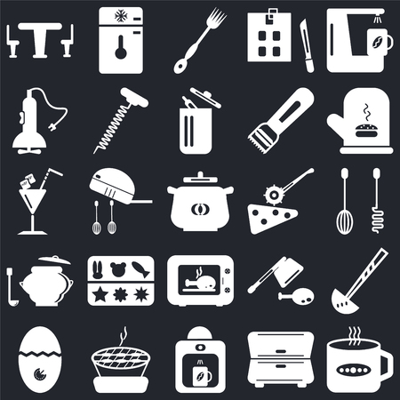 Set Of 25 icons such as Tea cup, Cabinet, Coffee maker, Barbecue, Timer, Mitten, Pizza cutter, Microwave, Saucepan, Mixer, Fork, Freezer on black background, web UI editable icon pack
