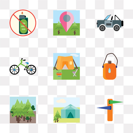 Set Of 9 simple transparency icons such as Tent, Forest, Flask, Bicycle, Jeep, Placeholder, Lighter, can be used for mobile, pixel perfect vector icon pack on transparent background Vectores