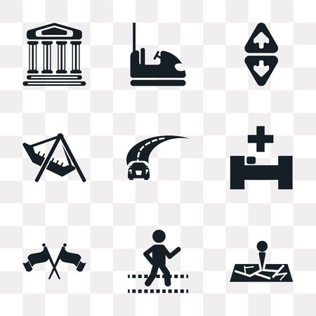 Set Of 9 simple transparency icons such as Map, Crossing, Flag, Hospital, Road, Amusement Park, Elevator, Dodgem, Monument, can be used for mobile, pixel perfect vector icon pack on transparent Illustration