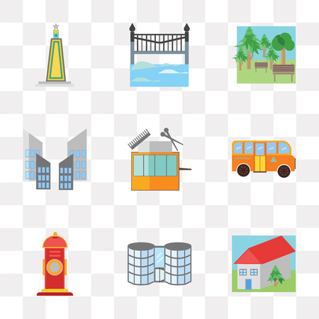 Set Of 9 simple transparency icons such as House, Mall, Hydrant, School bus, Barbershop, Skyscraper, Park, Bridge, Obelisk, can be used for mobile, pixel perfect vector icon pack on transparent Çizim