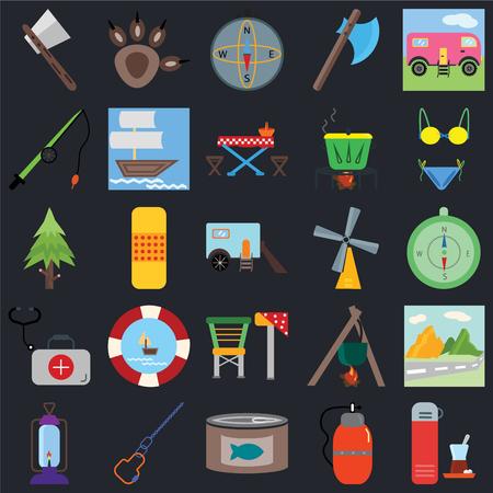 Set van 25 iconen zoals Thermo, Kantine, Ingeblikt voedsel, Karabijnhaak, Lantaarn, Bikini, Windroos, Kampstoel, EHBO-doos, Hengel, Kompas, Pootafdruk op zwarte achtergrond, web UI bewerkbaar pictogrampakket